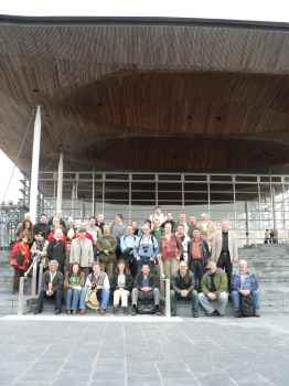 Delegates outside the Wales Assembly building
