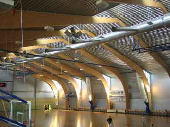 Glulam beams at the Polva City Gymnasium